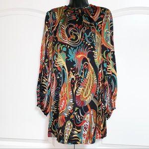 Zara Silk Paisley Shift Peasant Sleeve Dress M